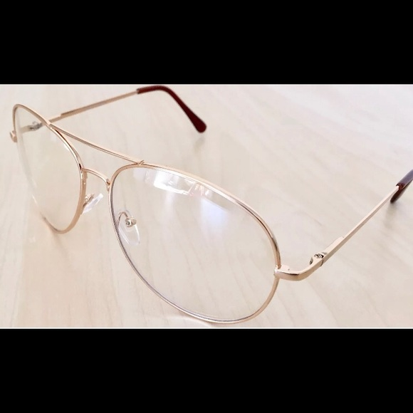 69cea93b0ee6 Clear Lens Aviator Gold Glasses Fashion Retro Larg